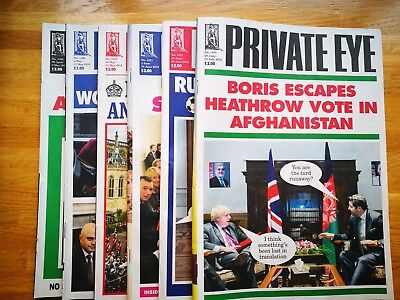 Recent 6 issues of Private Eye magazine, please see photos