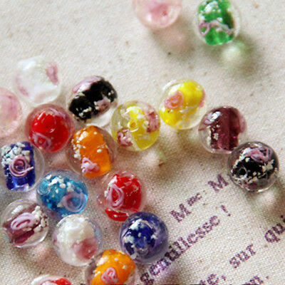 10X Luminous Crystal Glass Round Loose Beads Rose Flower Making DIY Jewelry Gift
