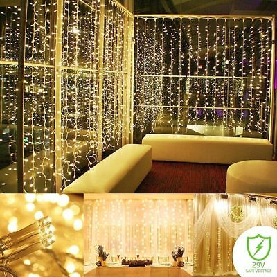 300LED Window Curtain String Lights Fairy Icicle Wedding Party Holiday Lamp