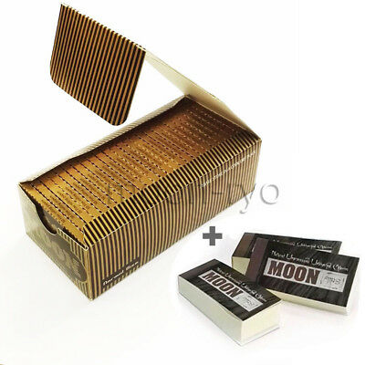 1 box 50 booklets Moon Gold Cigarette Rolling Papers 70*36mm with unrefine tips