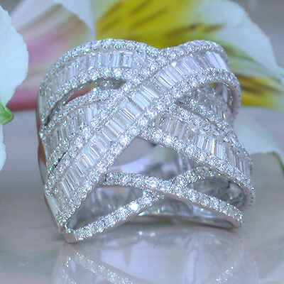 Gorgeous White Sapphire White Gold Plated Ring Wedding Bridal Jewelry Size 5-11