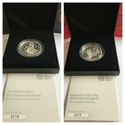 Royal Mint 2017 Queens Beasts Unicorn & 2018 Lunar Year Of Dog £2 Silver Proofs