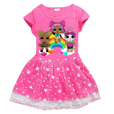 Kids Girls Summer Tutu Dress Lol Surprise Doll Pageant Prom Party Costume Casual