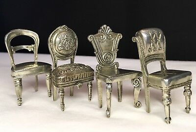 "Set Of 4 Pewter Miniature Ornate Vintage Chair Place Card Holders -2""x1"" Each"