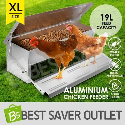 19L Aluminium Automatic Chicken Feeder Chook Poultry Treadle Self Opening Coop