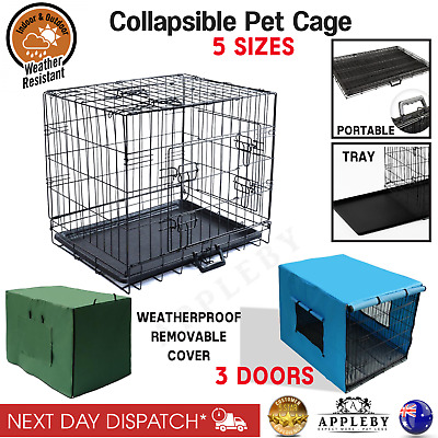 Collapsible Metal Pet Dog Cages Puppy Crate Portable Travel House Weather Cover