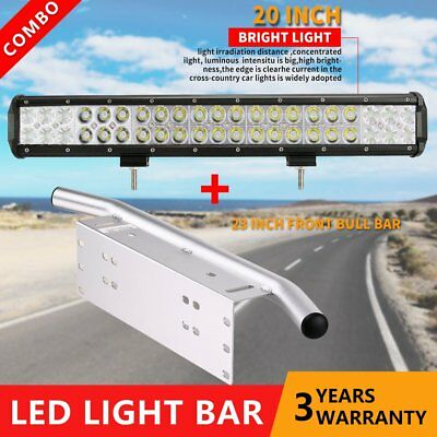 "20inch 210W CREE LED Light Bar + 23"" Chrome Number Plate Frame Mount Bracket 4X4"