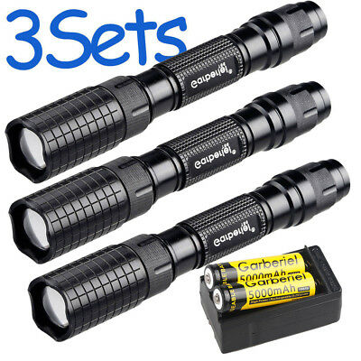 Police 90000LM T6 LED Zoomable 18650 Rechargeable Tactical Flashlight Torch Lamp