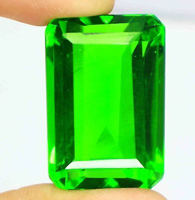 Best Offer 100.75 Ct EGL Certified Emerald Shape Green Moldavite Gemstone AM2230