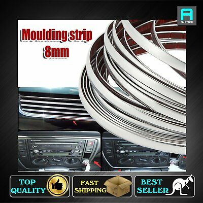 8mm Width Moulding Tape Strip Chrome Silver Styling Auto Door Grille Garnish 8M