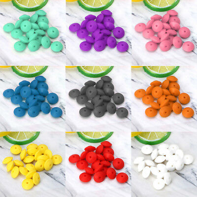 20 pcs Lentil Abacus Teething Silicone Beads Diy Teether Necklace Toys Baby Care