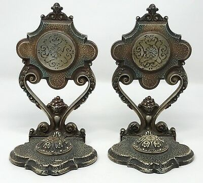 Pair Vintage Antique Cast Iron Decorative Bookends Door Stops SCP
