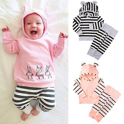AU Seller Infant Baby Boy Girl Hooded Tops Sweatshirt+Pants Outfits Clothes Set