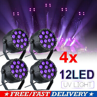 1-4pcs 12W UV LED Black Light DMX Stage Lighting Disco Party Wall Washer Bar