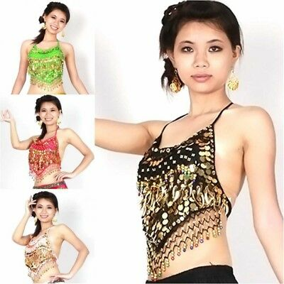 Women's Gold Coins Belly Dance Bra Beads Bells Top Costume Dancing Clothes AU
