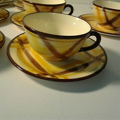 13 VERNONWARE Organdie Plaid Pattern Cups Saucers No Chips Deal
