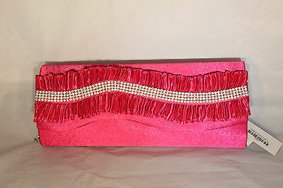 Beautiful Hot Pink Evening Clutch Purse with Rhinestones and Frills 172F 131