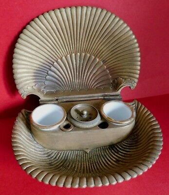 Antique Heavy Bronze Opening Clam Shell Inkwell, Porcelain Ink Pots