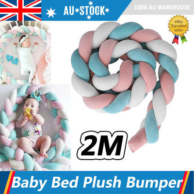 Baby Crib Plush Bumper Infant Toddler Bed Cot Protector Breathable Braid Plush