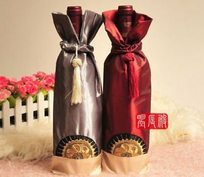 10pcs New Chinese silk pouch wine bottle cover satin wine bag