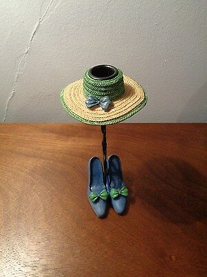 Adorable Ladies Hat & Matching Shoes Taper Metal Candle Holder