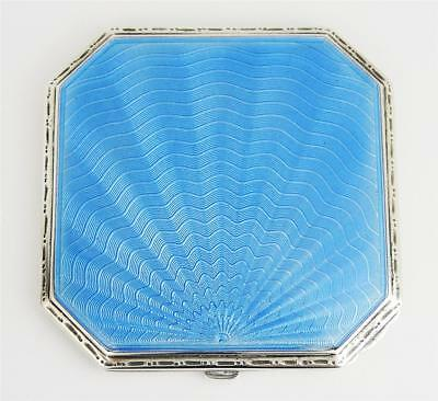 Stunning ART DECO STERLING SILVER GUILLOCHE ENAMEL COMPACT Birmingham 1935