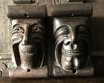 A Pair of 19th Century carved oak grotesque corbels.antique carved oak gargoyle