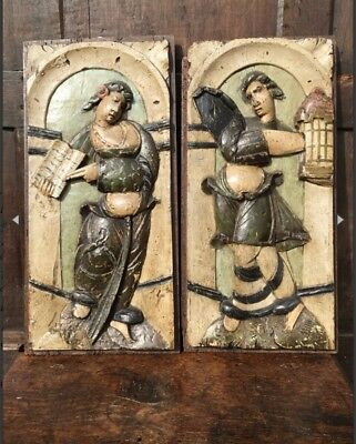 A Decorative Pair Of 16th Century Carved Oak Panels Depicting Two Of The Virtues