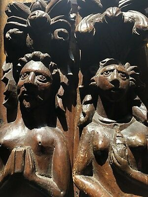 A Pair Of Carved 16th Century Walnut Caryatid Figures
