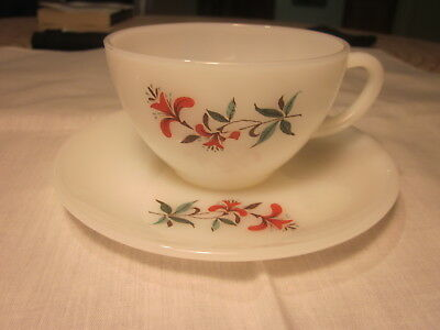 Vintage Fire-King Primrose Coffee Cup & Saucer 8 Oz. Mint 1960's