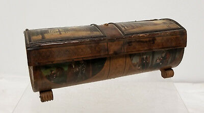 Antique Biedermeier Leather Sewing Box Painted Views of Bremen Germany Miniature