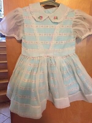 Pretty True Vintage Nylon Over Cotton Little Girls Fancy Dress, Sz.2