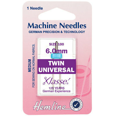 Hemline H110.60 Med Twin Universal Machine Needle 100/16 (6mm) Decorative Sewing
