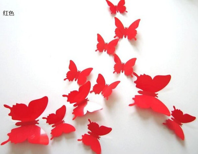Red Butterfly Hot Sale Mirror Wall Stickers Fridge Magnet For Home Decoration