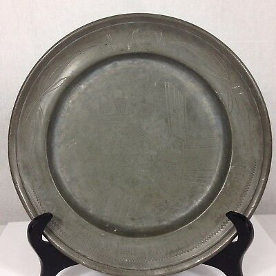 Interesting Antique 18th Cent. Pewter Plate Engraves Basket Weaving German? 1772