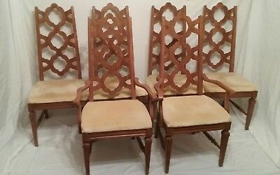 Set 6 Vtg French Provincial Walnut Dining Chairs Ogee Trellis Back BLOWING ROCK