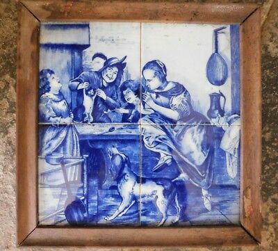 Antique Four (Delft?) Tile Blue And White Picture, Signed Naar J Steen, Framed