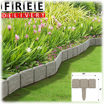 Garden Fence Border 8u0027 Decorative Flower Bed Stone Edging Set Lawn Plant  Stakes