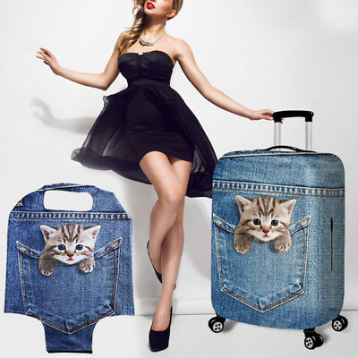 1PC 3D Lifelike Elastic Luggage Cover Polyester Suitcase Trolley Denim Case