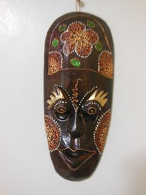 Mask Indonesia Mix  Color  Handmade Wood Carved Wall   Art Home Decor