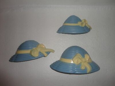 Home Interiors  3 pc Set Resin '' Blue & Yellow HATS ''  Wall Accents  Gorgeous