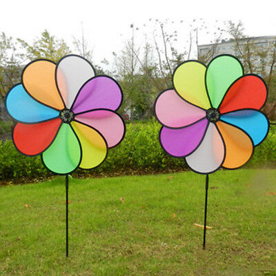 1EEB Plastic Sunflower Windmill Pinwheel Garden Whirligig Outdoor Wind Spinner