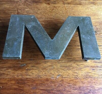 "1950s Solid Bronze Architectural 6"" LETTER M/W sign MCM Verdigris OBJECT neutra"