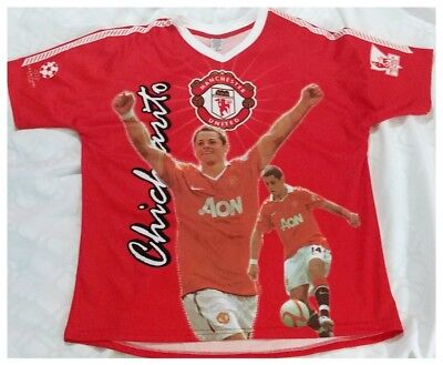 963ca20c5 Manchester United Chicharito Mexico Red Graphic Jersey #14 Men's Large  World Cup