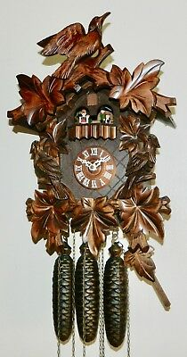 ****8 Day Vintage Musical  Black Forest Germany Cuckoo Clock*****
