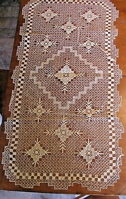 Vintage Filet Lace Net Darned Lace Handmade TableCloth Table Runner NOS Japan