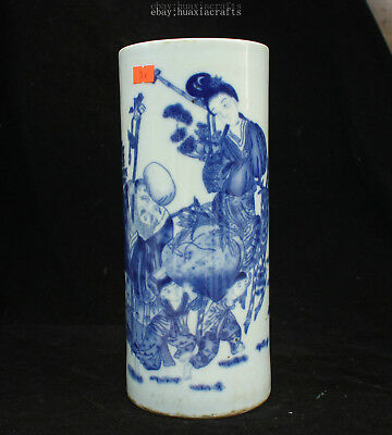 28cm Collect China Old Blue and White Porcelain Pottery Handmade brush pot HCNG