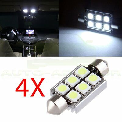 4x Bright White 6SMD 5050 LED Festoon 38mm 39mm Canbus Dome Light DE3175 3022