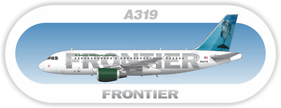 Airbus A319 Frontier aircraft profile sticker