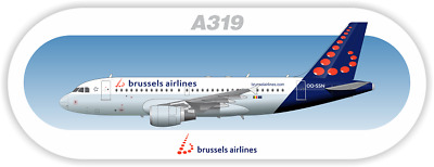 Airbus A319 Brussels aircraft profile sticker